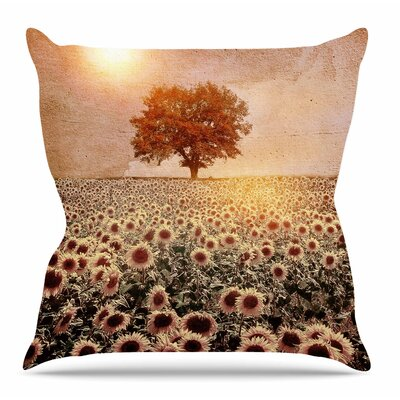 Lone Tree & Sunflowers Field by Viviana Gonzalez Throw Pillow Size: 26 H x 26 W x 4 D
