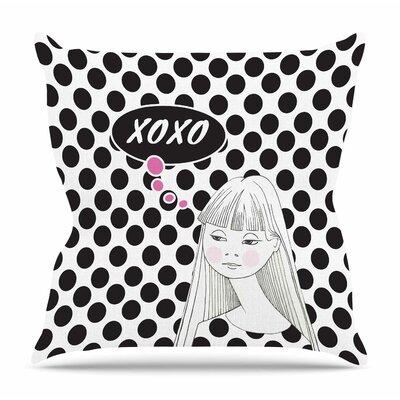 XOXO Pop Art Polka Dot Girl by Zara Martina Mansen Throw Pillow Size: 26 H x 26 W x 4 D
