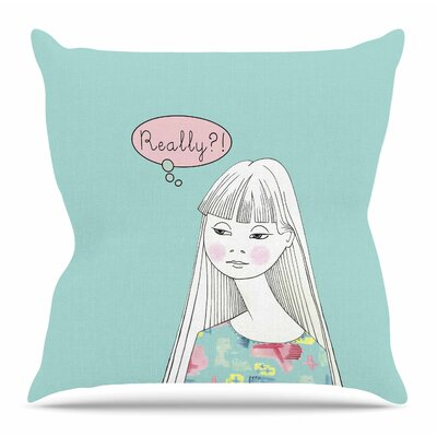 Really Retro Girl by Zara Martina Mansen Throw Pillow Size: 26 H x 26 W x 4 D