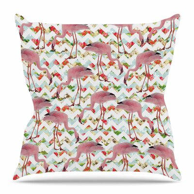 Flamingo Chevron & Roses by Suzanne Carter Throw Pillow Size: 20 H x 20 W x 4 D