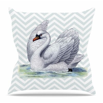 Vintage Swan by Suzanne Carter Throw Pillow Size: 18 H x 18 W x 4 D