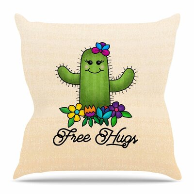Free Hugs Cactus by Tracey Coon Throw Pillow Size: 18 H x 18 W x 4 D