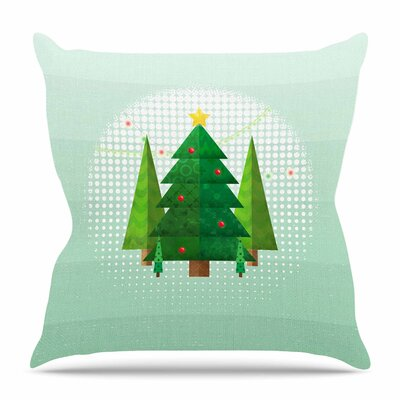 Geometric Christmas Tree by Tracey Coon Throw Pillow Size: 26 H x 26 W x 4 D
