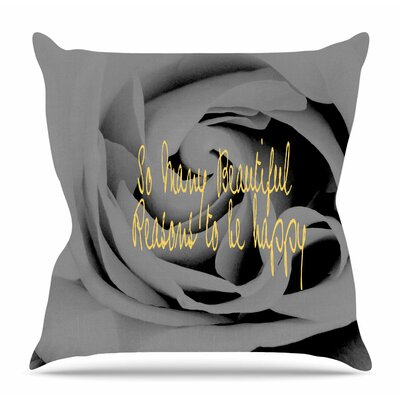 Happy by Suzanne Carter Throw Pillow Size: 26 H x 26 W x 4 D