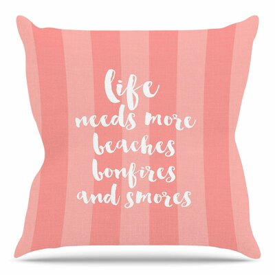 Beaches & Bonfires by Sylvia Cook Throw Pillow Color: Coral