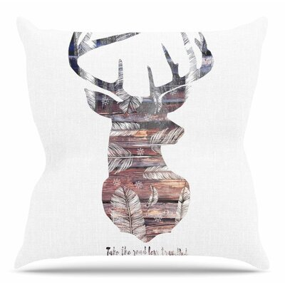 The Road by Suzanne Carter Throw Pillow Size: 18 H x 18 W x 4 D, Color: White
