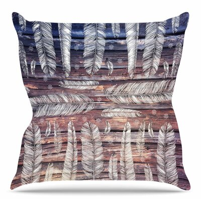 Snowflakes and Feathers by Suzanne Carter Throw Pillow Size: 16 H x 16 W x 4 D