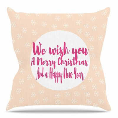 Merry Christmas & Happy New Year by Suzanne Carter Throw Pillow Size: 18 H x 18 W x 4 D