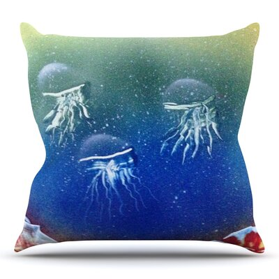 Underwater Aliens by Infinite Spray Art Throw Pillow Size: 20 H x 20 W x 4 D