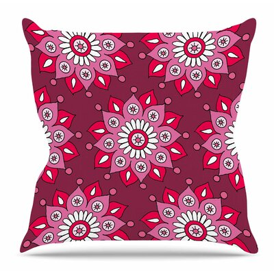 Raspberry Flower Burst by Sarah Oelerich Throw Pillow Size: 18 H x 18 W x 4 D