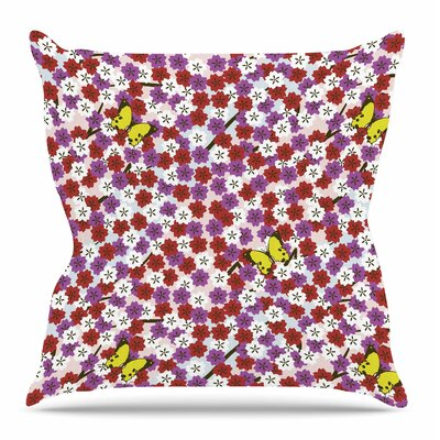 Cherry Blossom and Butterfly by Setsu Egawa Throw Pillow Size: 16 H x 16 W x 4 D