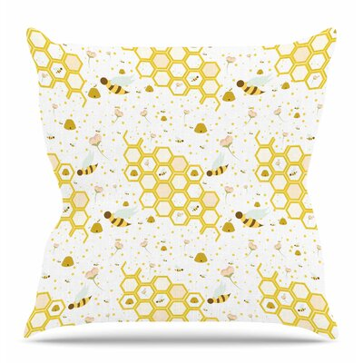 Honey Bees by Stephanie Vaeth Throw Pillow Size: 18 H x 18 W x 4 D