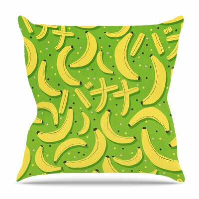 Banana Pattern by Strawberringo Throw Pillow Size: 26 H x 26 W x 4 D
