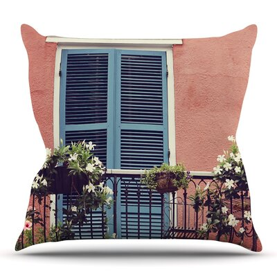 New Orleans Balcony by Sylvia Cook Throw Pillow Size: 16 H x 16 W x 4 D