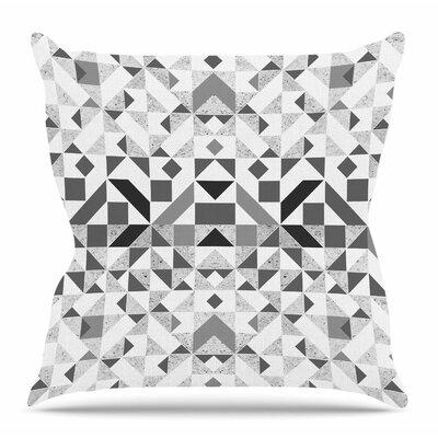 Geometric Throw Pillow Size: 16 H x 16 W x 4 D, Color: Gray/White