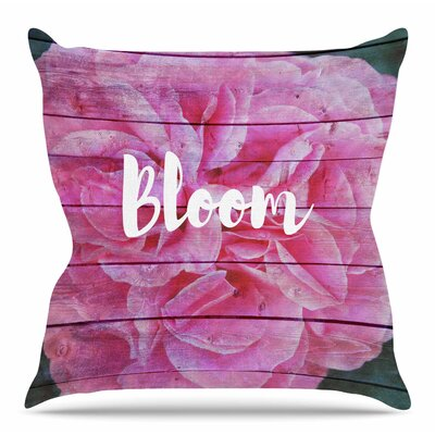 Bloom Typography by Suzanne Carter Throw Pillow Size: 26 H x 26 W x 4 D