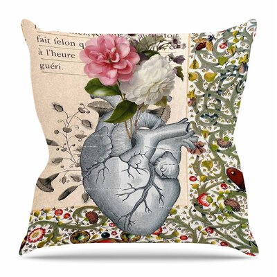 Her Heart is a Garden by Suzanne Carter Throw Pillow Size: 16 H x 16 W x 4 D