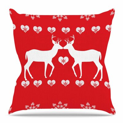 Christmas Deer 2 by Suzanne Carter Throw Pillow Size: 18 H x 18 W x 4 D