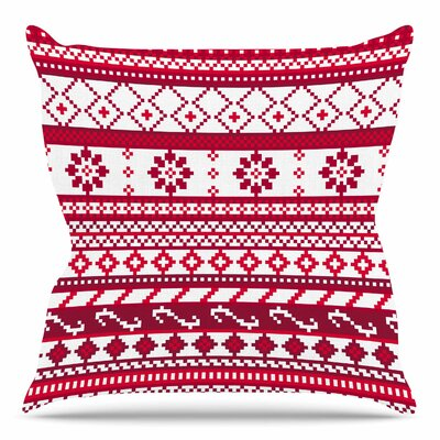 Fairisle Christmas Pattern by Tracey Coon Throw Pillow Size: 18