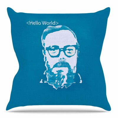 Hello World by Theresa Giolzetti Throw Pillow Size: 26 H x 26 W x 4 D