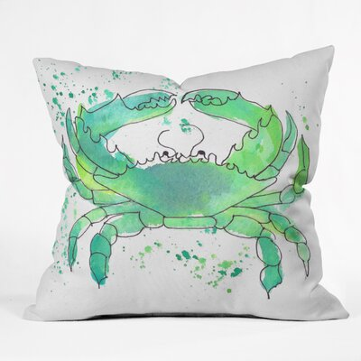 Seafoam Green Crab by Laura Trevey Indoor/Outdoor Throw Pillow Size: 26 H x 26 W x 7 D
