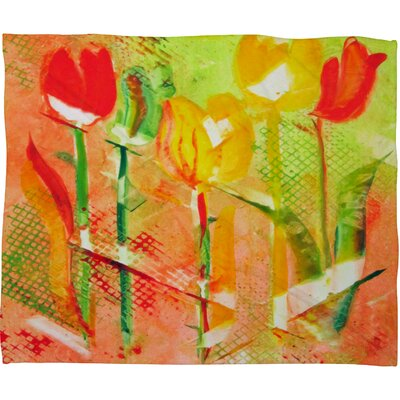 Citrus Tulips Fleece by Laura Trevey Throw Blanket Size: Large
