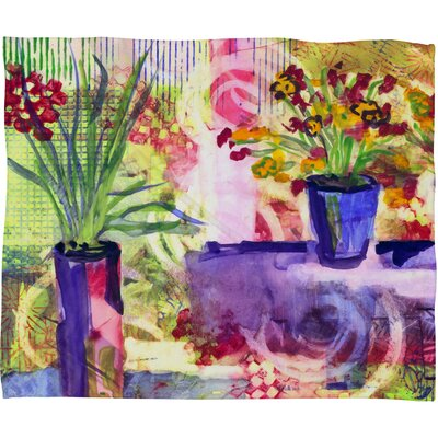 Purple and Lime Fleece by Laura Trevey Throw Blanket Size: Large