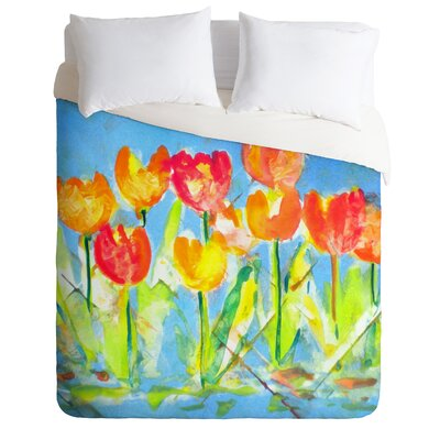 Spring Tulips Lightweight Duvet Cover Size: King