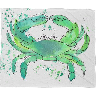 Laura Trevey Seafoam Green Crab Throw Blanket Size: Large