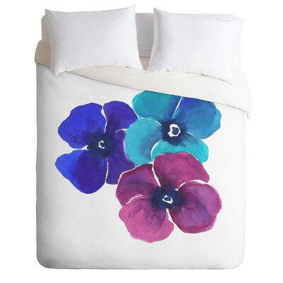 Pansies Duvet Cover Size: Queen