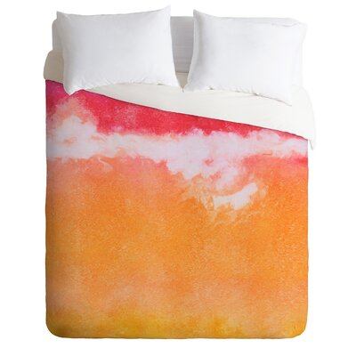Tangerine Tie Dye by Laura Trevey Lightweight  Duvet Cover Size: Queen