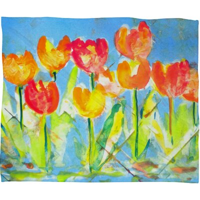 Spring Tulips Fleece by Laura Trevey Throw Blanket Size: Large