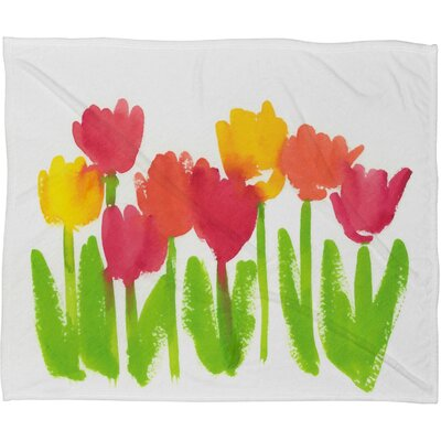 Bright Tulips Fleece Throw Blanket Size: Large