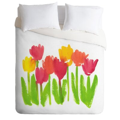 Bright Tulips by Laura Trevey Lightweight Duvet Cover Size: Queen