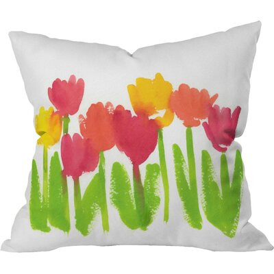 Bright Tulips by Laura Trevey Throw Pillow Size: 26 H x 26 W x 7 D