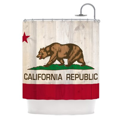 California Flag Wood Shower Curtain