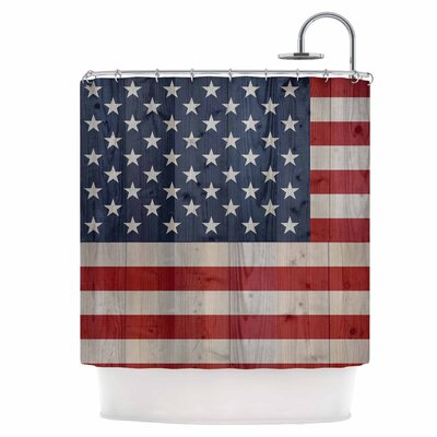 USA Flag On Spruce Shower Curtain