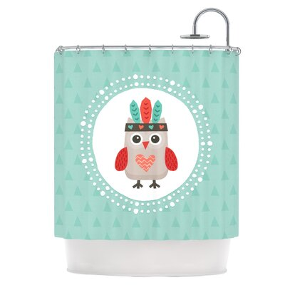 Owlet Mint Coral Shower Curtain