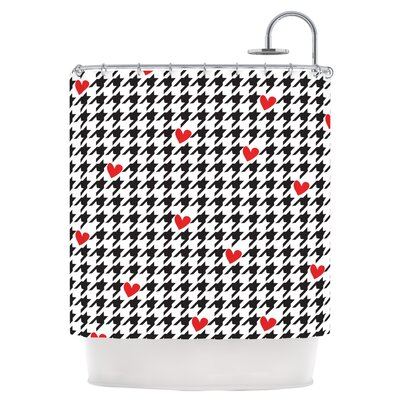 Spacey Houndstooth Heart Shower Curtain