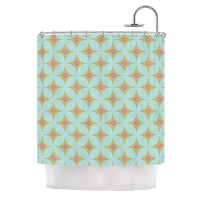 Retro Aquamarine Shower Curtain