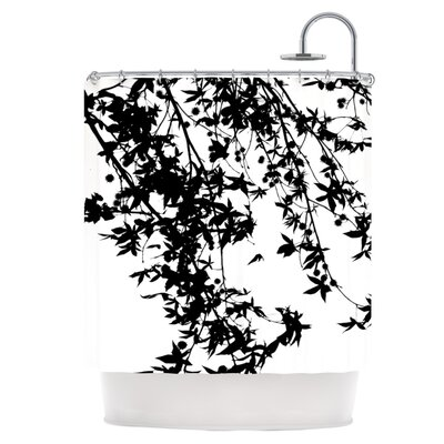 Black on White Shower Curtain
