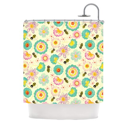 Floral Bee Shower Curtain