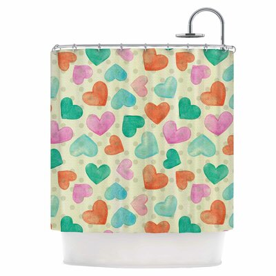 Watercolor Hearts Shower Curtain