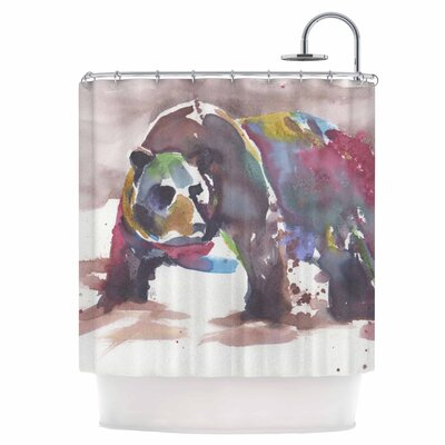 Grizzly Bear Watercolor Shower Curtain