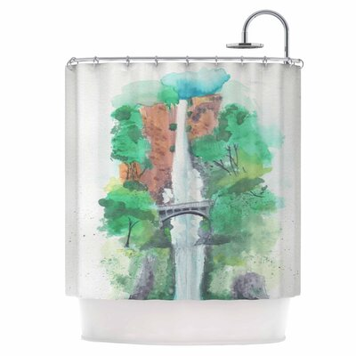 Multnomah Falls Watercolor Shower Curtain