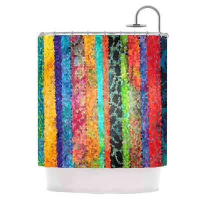 Stained Glass Batik Mosaic Stripe Shower Curtain