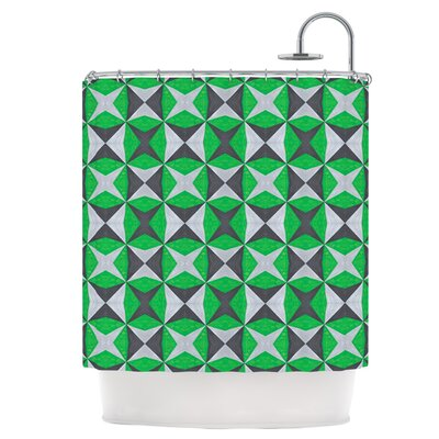 Silver and Green Abstract Shower Curtain