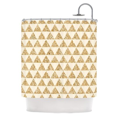 Glitter Triangles in Gold Shower Curtain