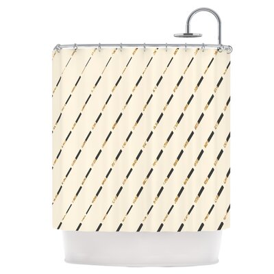 Glitter Diagonals in Gold Shower Curtain