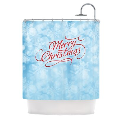 Merry Christmas Typography Shower Curtain